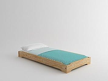 Lufe Cama apilable Madera + colchón, Pino, Natural, 90 x 200 cm: Amazon.es: Hogar