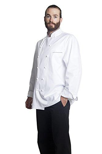 Bragard Exclusive Design Men's perigord Chef Jacket - White With Gray Piping Cotton - Size 40 by Bragard (Image #3)