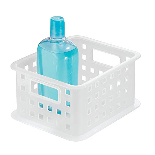 iDesign Storage Organizer Basket, for Bathroom, Health and Beauty Products, Bath Towels - Small, Frost