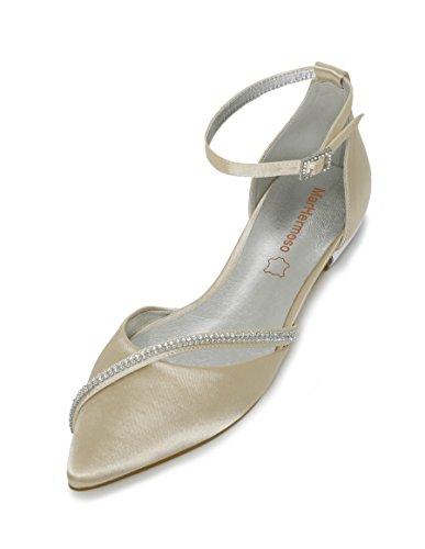 MarHermoso Women's Satin Ankle Strap Pointed Toe Rhinestones Comfort Flats Wedding Bridal Shoes Champagne ()