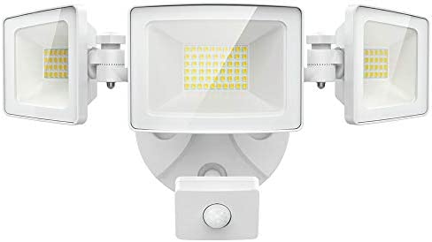 Olafus 50W LED Security Lights Motion Sensor Outdoor, 3 Head Flood Light with Motion Detector, 5500LM, IP65 Waterproof Exterior PIR Floodlights, Outside Motion Lighting for Garage, Yard, 5000K White