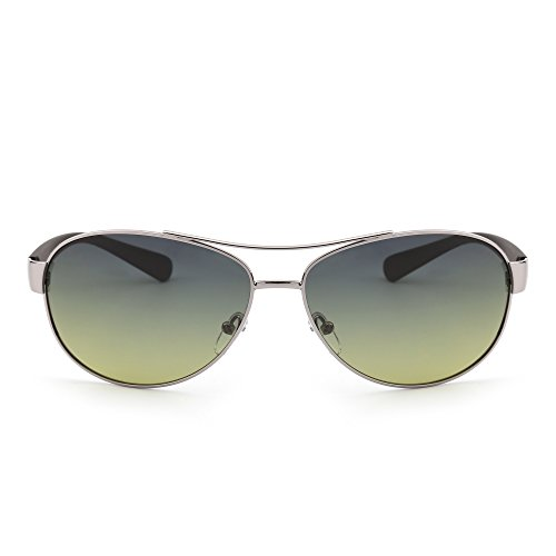 Polarized Aviator Sunglasses Oversize Gradient Lenses Matte Temple Men Women (Silver / Blue and (Gradient Yellow Lens)