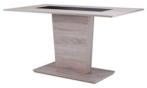 Cavadore 82023 Säulentisch Holz Melamin Eiche 110 x 70 x 75 cm, Sonoma