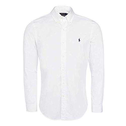 Polo Ralph Lauren Mens Solid Poplin Sport Shirt (L, White)