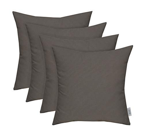 RSH Décor Set of 4 Indoor/Outdoor Square Throw Pillows Sunbrella Canvas Charcoal (17