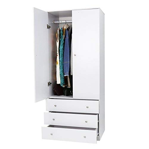 Kinbor Two Door Wardrobe Cabinet Armoire, with Three Drawers, and Hanging Rod (3 Drawer 2 Door Armoire)