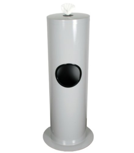 Floor Stand Gym Wipe Dispenser, Galvanized Steel, Wipe Dispenser with Built-in Trash Can by Zogics