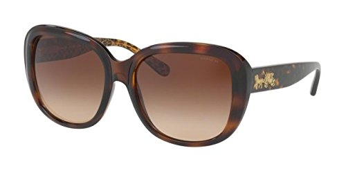 COACH Women's 0HC8207 57mm Dark Tortoise Gold Signature C/Smoke Gradient - Best Sunglasses Website