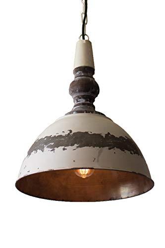 Antique Style Pendant Light Fixture - Farmhouse Lighting with Distressed Buttermilk - Finish Buttermilk