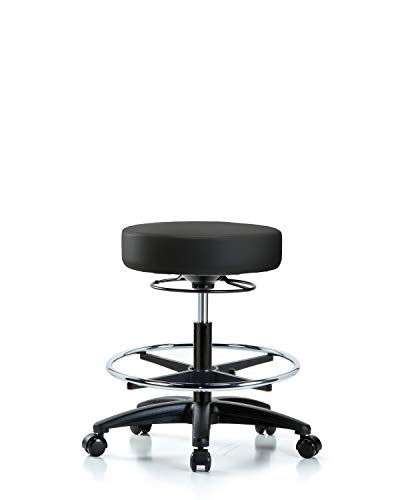 Antimicrobial Stool - Adjustable Stool for Exam Rooms, Labs, and Dentists with Wheels and Foot Ring - Bench Height, Black