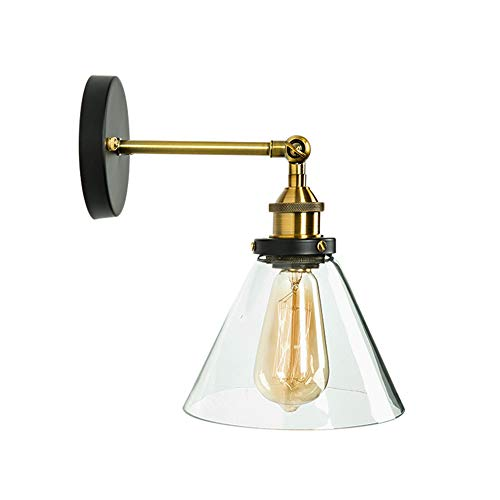 - T&A Antique Clear Glass Wall Sconces Adjustable Vintage 1-Light Edison Wall Lamps(Funnel Lamp)