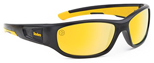 Officially Licensed NFL Sunglasses, Pittsburgh Steelers, 3D Logo on Temple - 100% UVA, UVB & UVC - Sunglass 3d