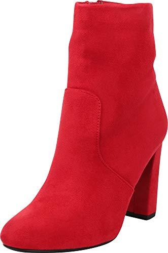 Cambridge Select Women's Chunky Block High Heel Ankle Bootie Lipstick Imsu
