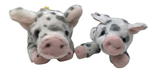 Nickanny's Set of 2 Mother Baby Spotted Pig Toy Stuffed Piglet in 11 inch and 8 inch Plush by Aurora