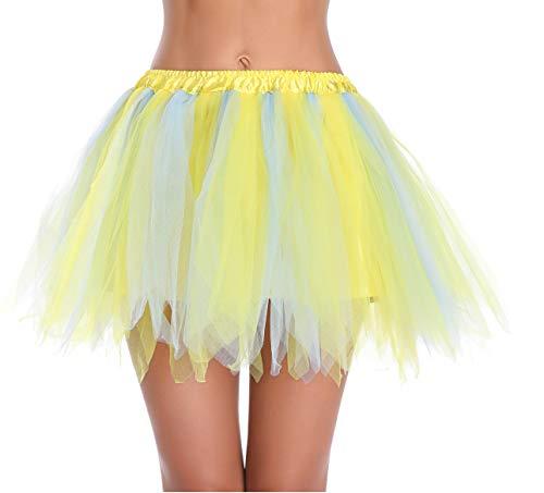 v28 Women's Teen's 1950s Vintage Tutu Tulle Petticoat Ballet Bubble Skirt (Regular Size (US: 0-12), LightBlue+Yellow) ()