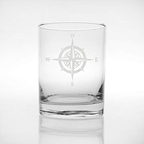 (Rolf Glass Compass Rose Double Old Fashioned Glass, 14 Ounce, Set of 4)