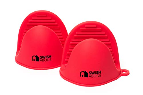 Swish Abode Red Silicone Oven Mitts Set(2) for Instant Pot or Kitchen use as Potholder or Baking Holder Mini Oven mitt is Sold in a Pair and Mini Mitten Holders can be Used When Cooking on a Grill