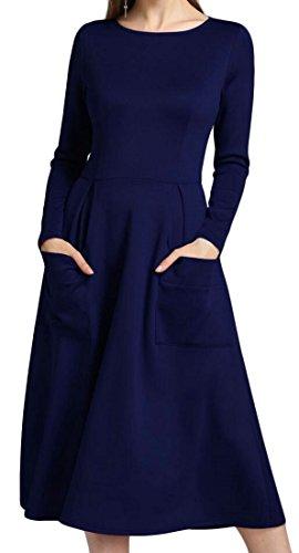 Jaycargogo Mode Féminine Glissière Au Dos De La Robe De Soirée Poche Col Rond Bleu