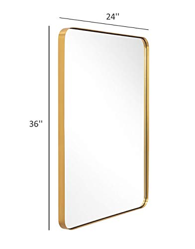 Gold Wall Mirror, 24x36 Inch Mirror for Bathroom, Brushed Brass Stainless Steel - Vanity Brass Mirrors Bathroom