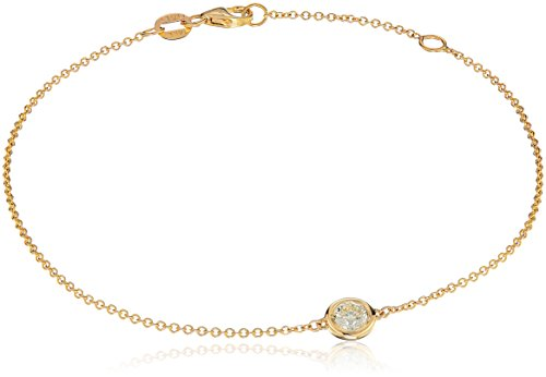 14k Yellow Gold Solitaire Bezel Set Diamond with Lobster Clasp Strand Bracelet (1/4cttw, J-K Color, I2-I3 Clarity)