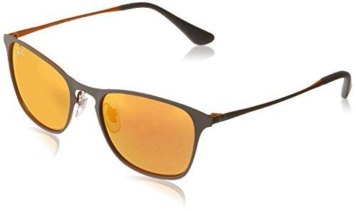 Ray-Ban Kids' Metal Unisex Square Sunglasses, Rubber Grey/Yellow, 48 - Aviators Yellow Ban Ray