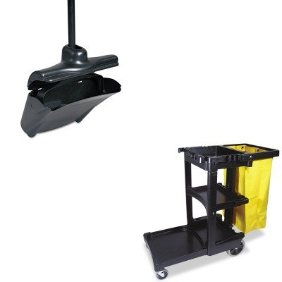 KITRCP253200BLARCP617388BK - Value Kit - Rubbermaid-Black Lobby Pro Upright Dust Pan With Self Opening/Closing Cover (RCP253200BLA) and Rubbermaid Cleaning Cart with Zippered Yellow Vinyl Bag, Black (RCP617388BK) by Rubbermaid