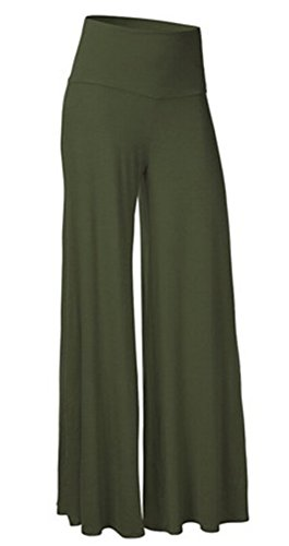 Striped Seersucker Bermuda Shorts (SL Women's Soft Wide Leg Palazzo Pants with High Fold Over Waist Band Army Green M)