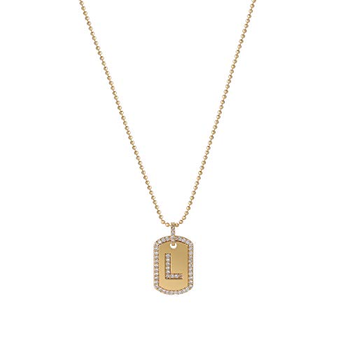 Gold Initial Necklace,Women 14K Gold Plated Military Ball Beads Chain Dog Tag Necklace Handmade Dainty CZ Boys Necklace 17.12