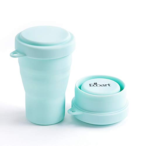 Ecoart Collapsible Travel Cup - Silicone Folding Camping Cup with Lids BPA Free, Food-Grade  Big Size [11.8oz] Green
