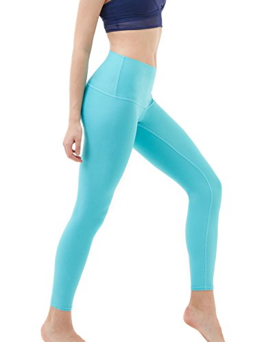 TSLA Yoga Pants Mid-Waist/High-Waist Tummy Control w Pocket Series, Yogabasic Contour(fyp52) - Aqua, X-Large (Size 12-14_Hip43-45 Inch)