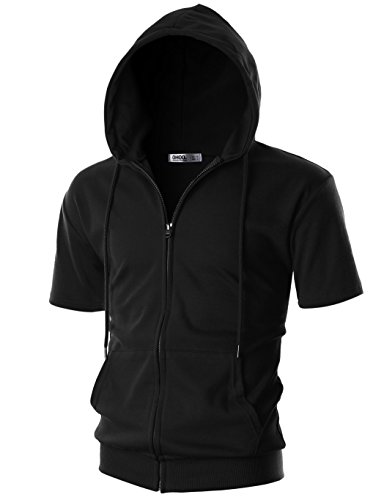 OHOO Mens Slim Fit Short Sleeve Lightweight One-Tone Zip-up Hoodie with Kanga Pocket/DCF056-BLACK-XL