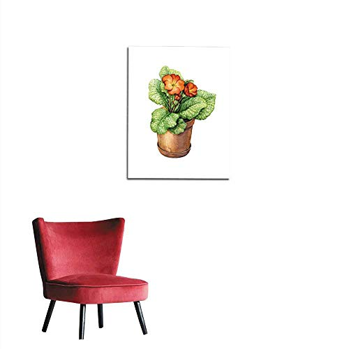 (longbuyer Painting Post Red Primula in Clay Flowerpot Mural 24