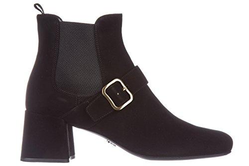 Prada Suede Heels (Prada Women's Suede Heel Ankle Boots Booties Black US Size 5 1T159H_008_F0002)