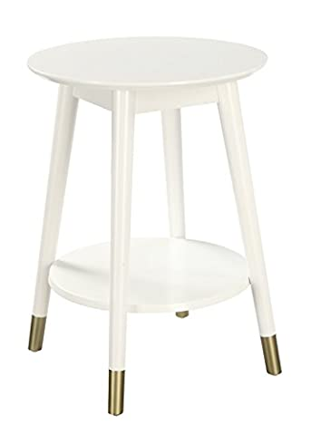 Convenience Concepts Wilson Mid-Century Round End Table with Bottom Shelf, White (White And Gold Shelves)