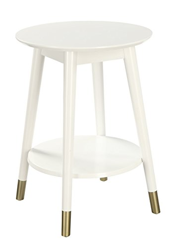 Convenience Concepts Wilson Mid-Century Round End Table with Bottom Shelf, White