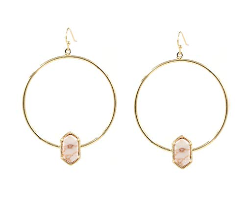 (Gold Color Big Round Dangle Earring Alloy Circle Small Oval Druzy Drop Earrings for Women Earrings Fashion Jewelry White Marble)