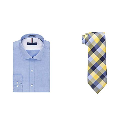 Tommy Hilfiger Men's Dress Shirts Non Iron Slim Fit Solid Spread Collar and Buffalo Tartan Tie, Blue/Yellow, 17