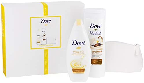 Dove 2 Pack de regalo con estuche para dama (Cuidado & aceite Crema Ducha 250 ml, verwöhn 8711700963404 Loción con sheabu tter y aroma de vainilla, 400 ml), 680 g: Amazon.es: Belleza