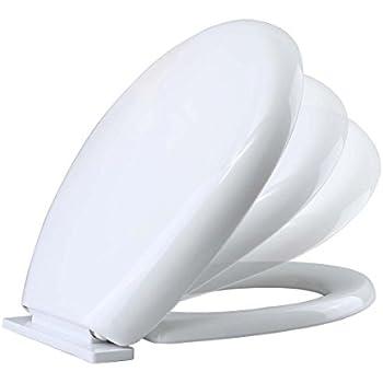 No Slam Toilet Seat Easy Close White Plastic Round