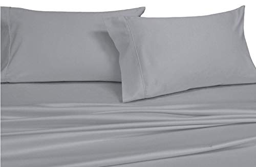 Split-King: Adjustable King Bed sheets, Solid Gray 550-Thread-Count 5pc Bed Sheet Set 100-Percent Combed Cotton, Sateen Solid, Deep Pocket