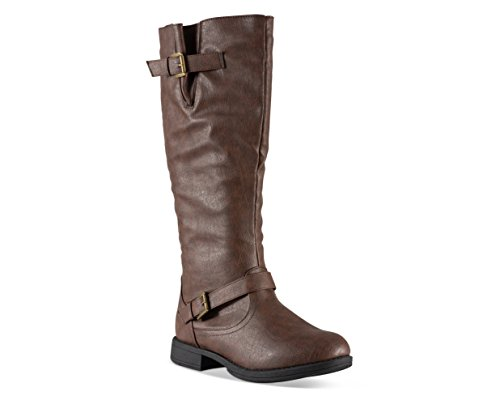 Twisted Women's Amira Wide Calf Knee-High Riding Boot- AMIRA01P LT Brown, Size -