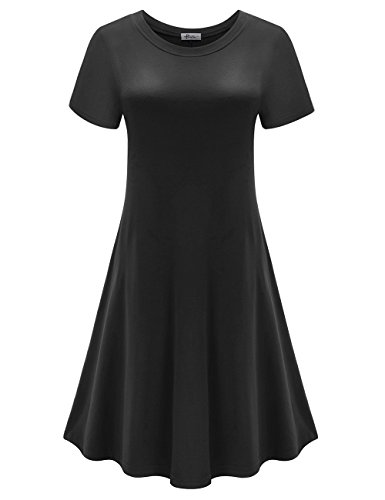 Herou Women Short Sleeve Loose Swing Casual T Shirt Tunic Long Sleeve Dress X Large Black