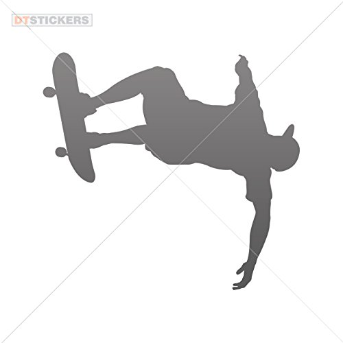 Decal Skateboarder Car window jet ski freestyle halfpipe air outdoors (5 X 4,62 Inches) Gray 75%