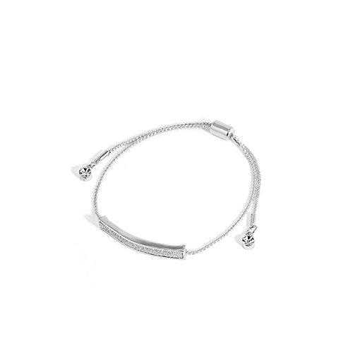 Price comparison product image ERAWAN Womens Crystal Pave Bar Slider Bracelet Adjustable Drawstring Tightening EW sakcharn (Silver)