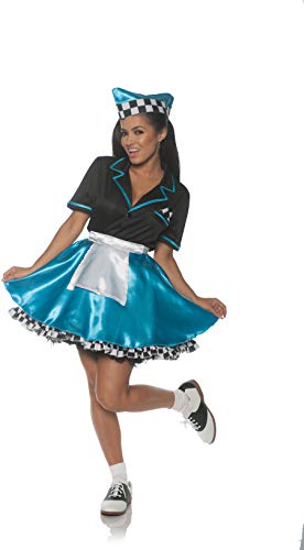 Underwraps Women's 1950s Car Hop Costume - Turquoise, Blue, Large