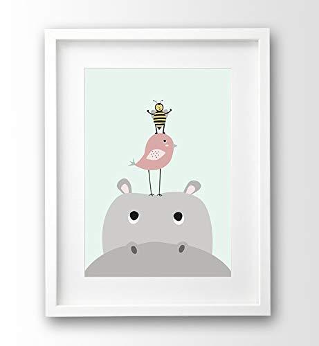 Kinderzimmer Bild Nilpferd Und Freunde A4 Poster Tiere Ohne Rahmen