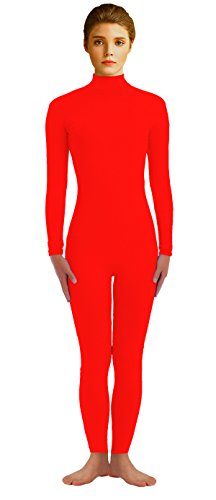 Dancewear Unitard (VSVO Adults Red Spandex Suit Fancy Bodysuit Unitard Dancewear (Medium, Red))