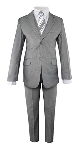 Luca Gabriel Toddler Boys' 5 Piece Slim Fit Grey Formal Dress Suit Set with Tie and Vest - Size 10