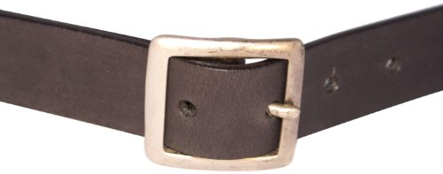 Bison Designs Full Grain Water Buffalo Leather 32mm Standard Leather Belt with Dull Silver Buckle (Black, 34-Inch ()