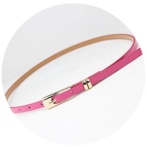 - Candy Color Thin Pu Leather Belt Female Red Brown Black White Yellow,Rose Red